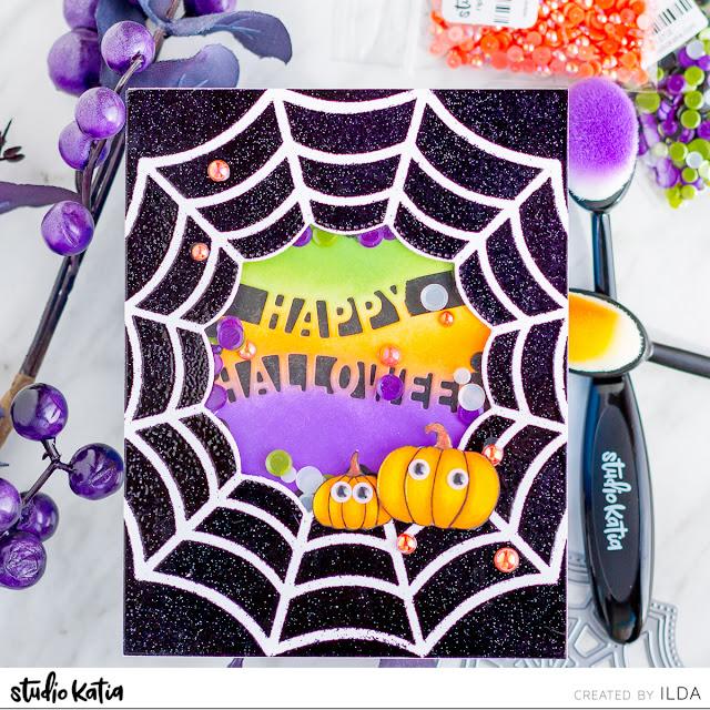 Spiderweb Halloween Shaker Card | Studio Katia by ilovedoingallthingscrafty.com