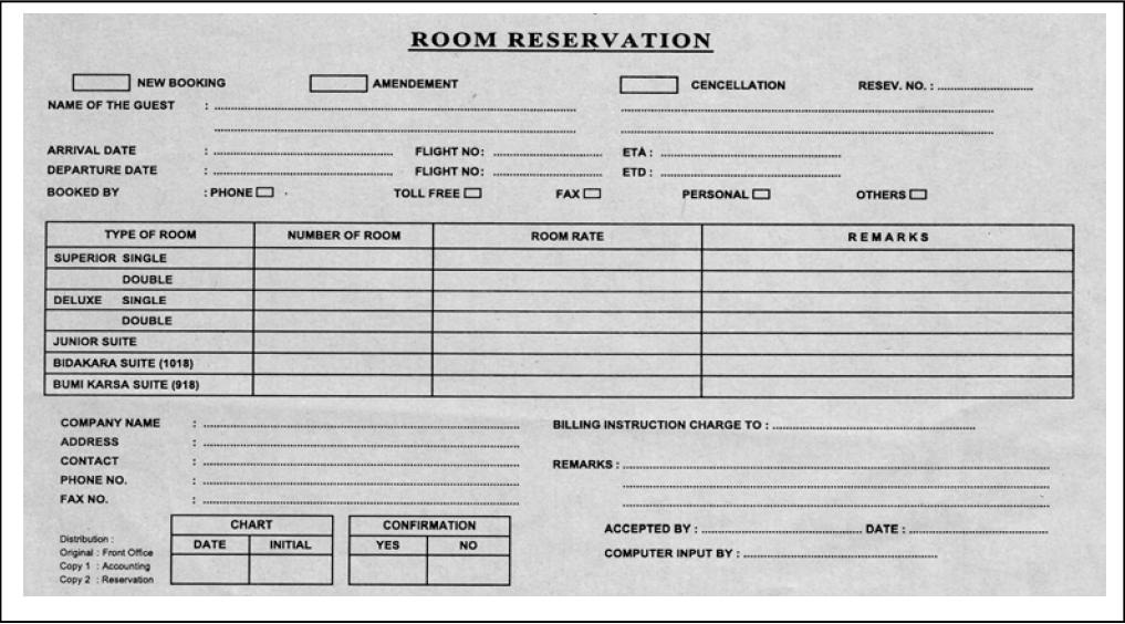 jenis laporan status reservasi dan