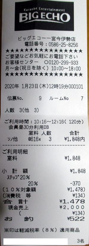 ビッグエコー 一宮今伊勢店 2020/1/23 利用のレシート