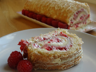 Raspberry & White Chocolate Swiss Roll