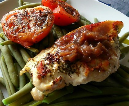 Turkey escalope with shallots confit
