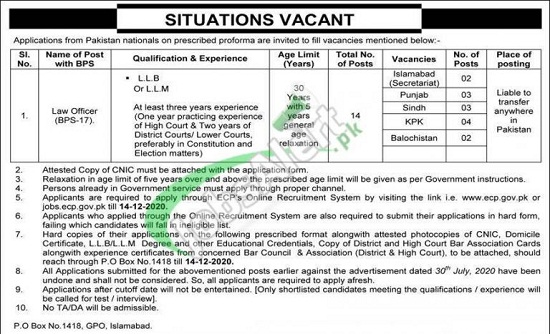 ecp-election-commission-of-pakistan-jobs-2020-application-form