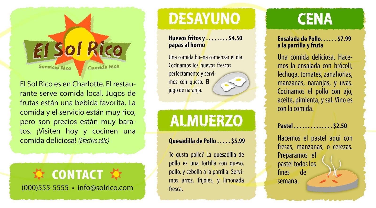 Restaurant Menus In Spanish Language Images