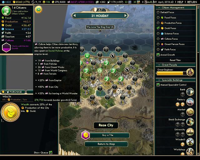 Civilization 5 - 166 Culture in City