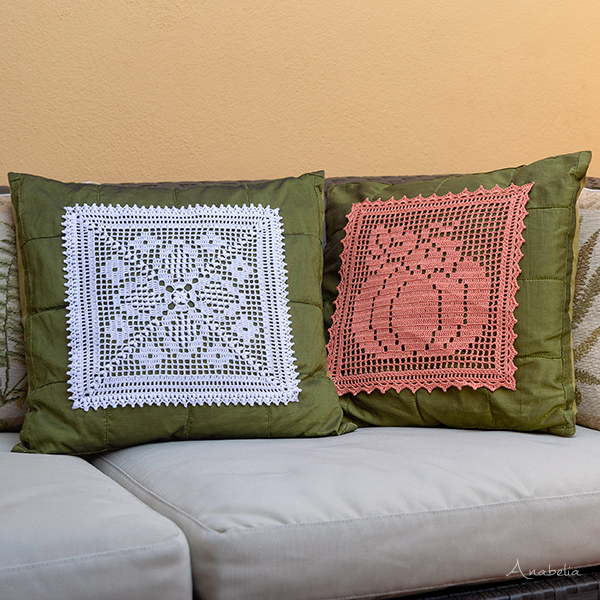 Vintage fall crochet pillows, Anabelia Craft Design