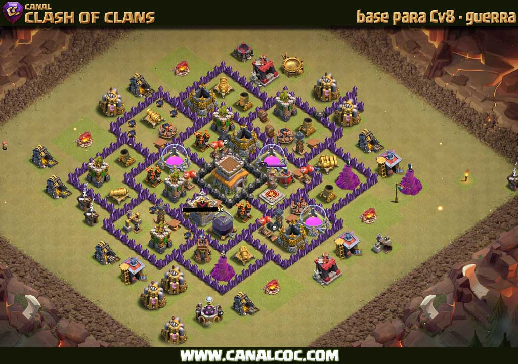 base cv8 guerra 172 canal clash of clans