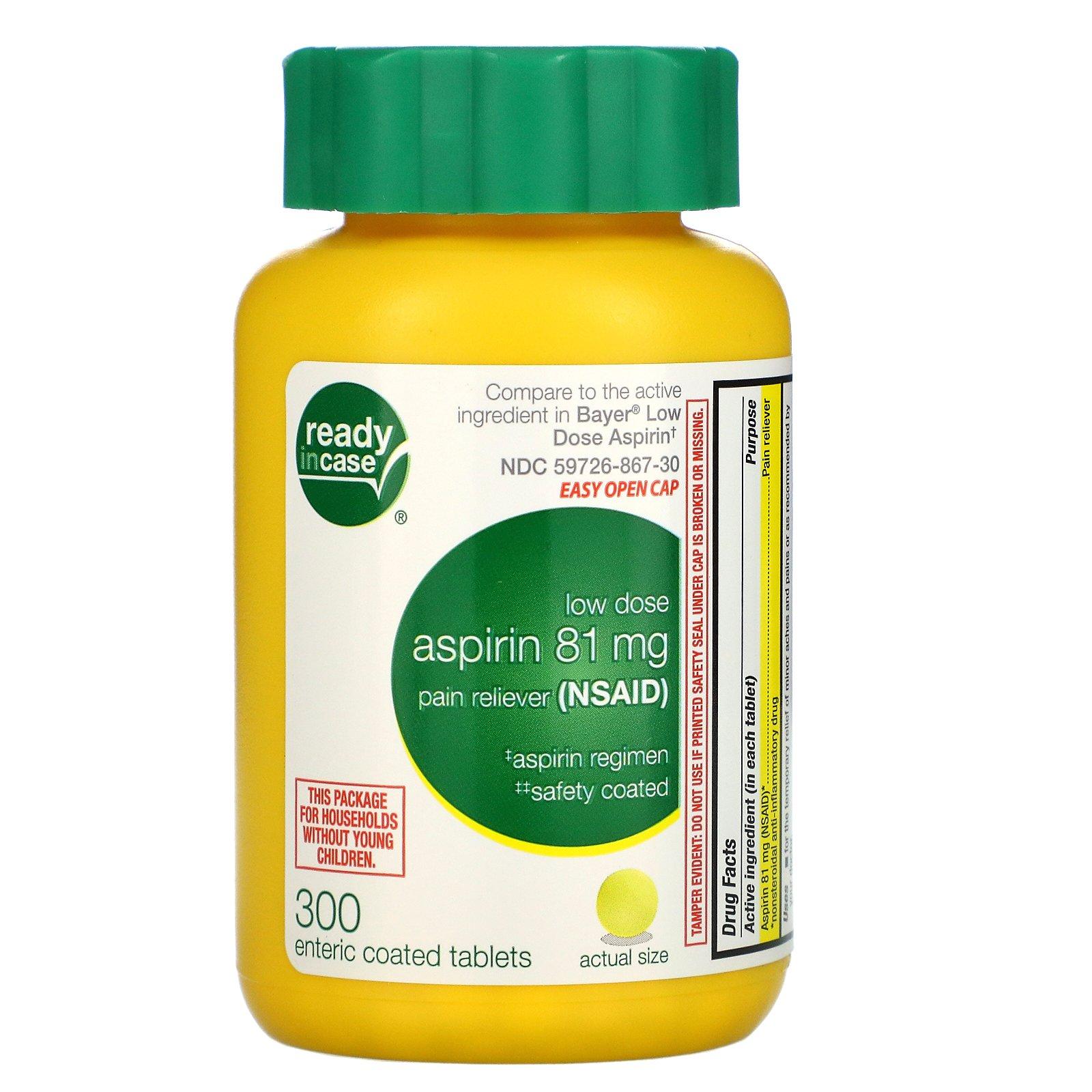 Life Extension, аспирин, низкая дозировка с защитным покрытием, 81 мг, 300 таблеток, покрытых кишечнорастворимой оболочкой