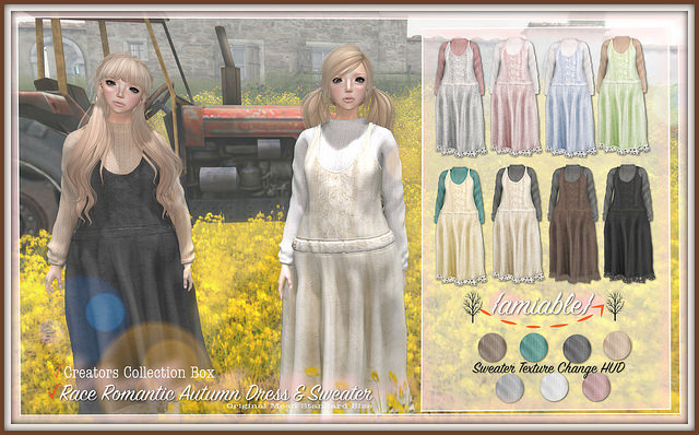 {amiable} Lace Romantic Autumn Dress with Sweater