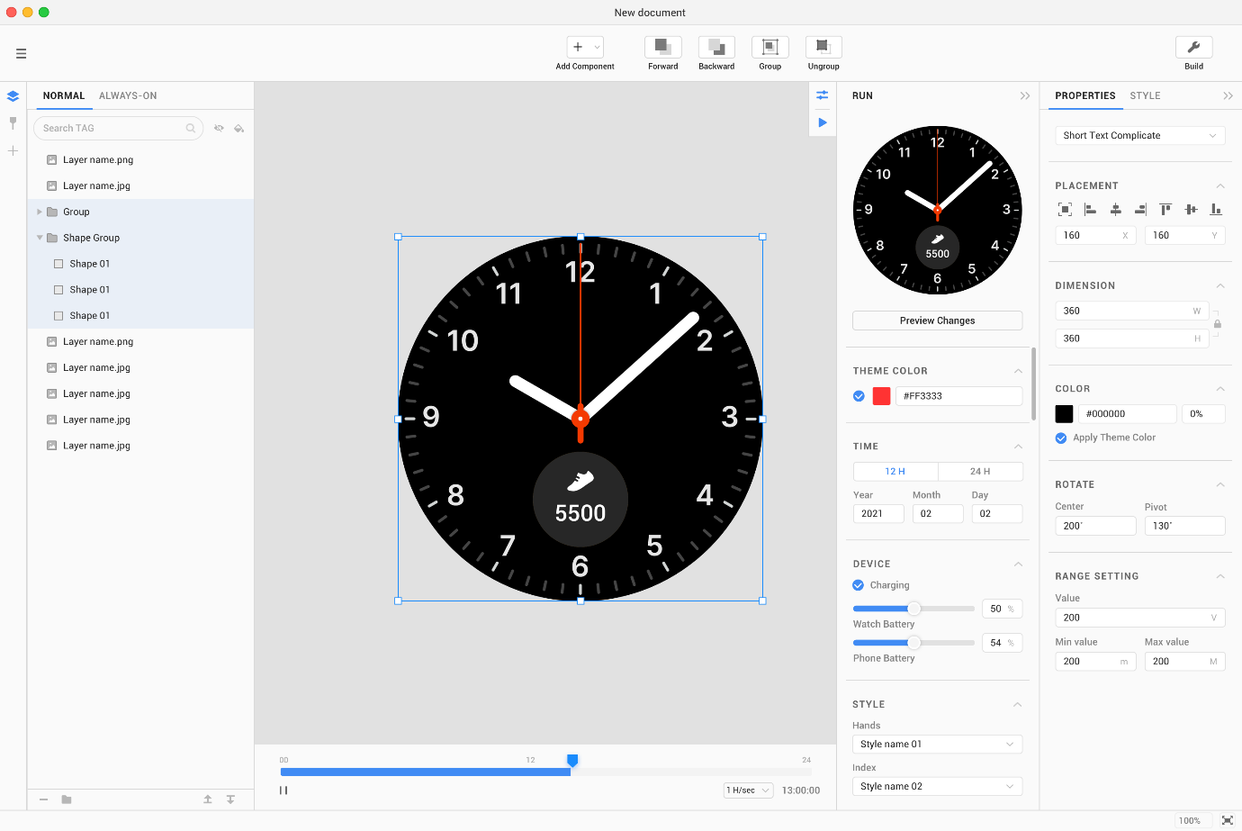 image of clock face in editing software