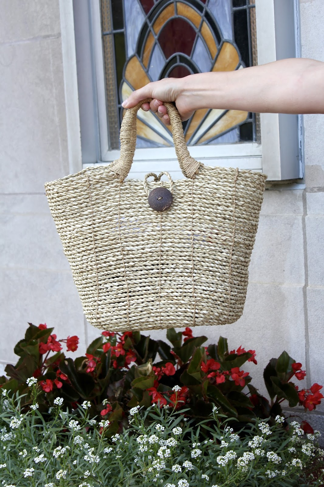 Button Front Closure Straw Tote