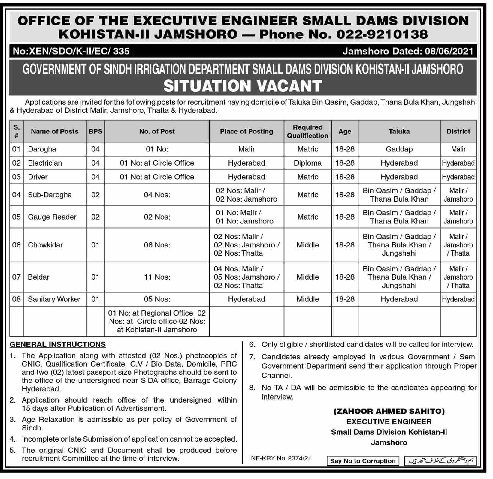 Executive Engineer Office Small Dams Division Jamshoro Jobs 2021 in Pakistan