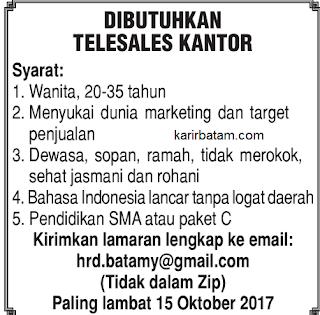 Lowongan Kerja Telesales kantor (Ditutup 15 Oktober 2017)