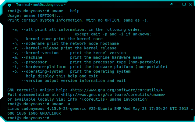 uname command on Ubuntu to check Linux version, kernel, etc