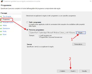 Regola personalizzata firewall - Cortana 2