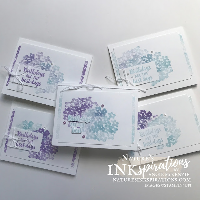 By Angie McKenzie for Casually Crafting Design Team Blog Hop; Click READ or VISIT to go to my blog for details! Featuring the retiring Beautiful Friendship Photopolymer Stamp Set and the new 2021-23 In Color, Fresh Freesia by Stampin' Up!® to create some quick birthday cards; #stampinup #cardtechniques #cardmaking #beautifulfriendshipstampset #customartistrypaper #twine  #hydrangeas #stampingtechniques #stampinupcolorcoordination #casuallycraftingdesignteambloghop #naturesinkspirations #birthdaycards #diycards #handmadecards