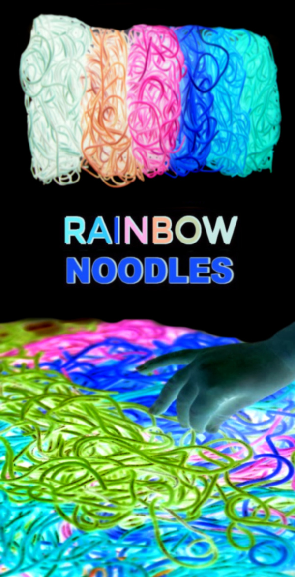 Make glowing rainbow noodles for kids using this easy recipe tutorial!  Dyed noodles are great for arts, crafts, and sensory play activities. #glowingsensorybin #glowingrainbownoodles #rainbowdyednoodles #rainbownoodles #rainbowspaghetti #sensoryactivities #sensorybins #coloredpasta #howtodyenoodles #growingajeweledrose