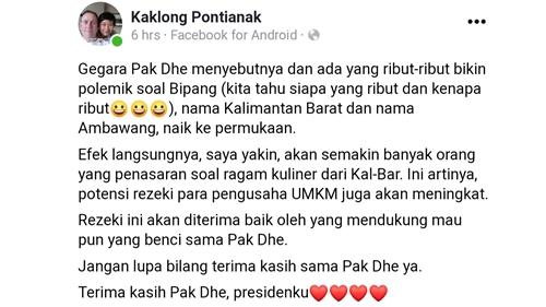 Bersyukur Presiden Jokowi Sebut Bipang Ambawang, Netizen Pontianak: Rezeki Pengusaha UMKM Akan Meningkat, Terima Kasih Pakde!