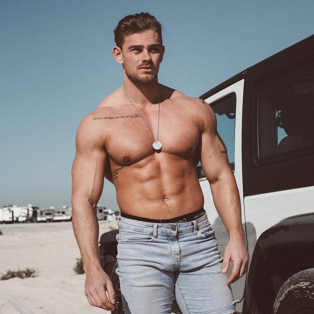 muscle-beefcake-hunk-bare-chest-pecs-abs-car