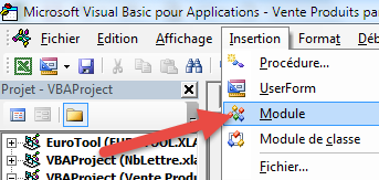 Insertion Module VBA Excel