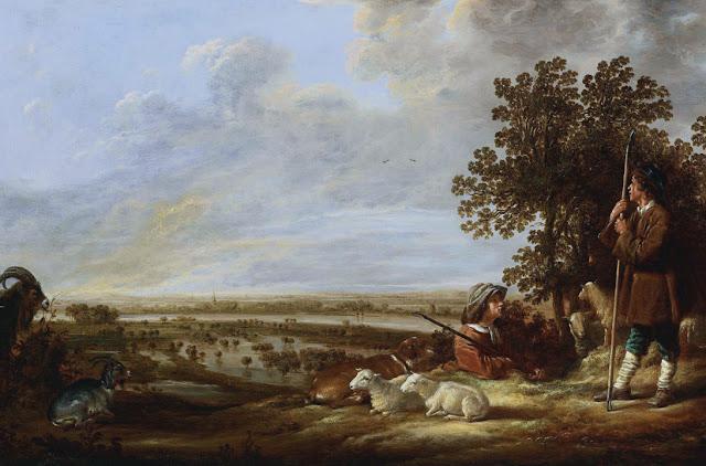 Альберт Кёйп - Речной пейзаж с пастухами
