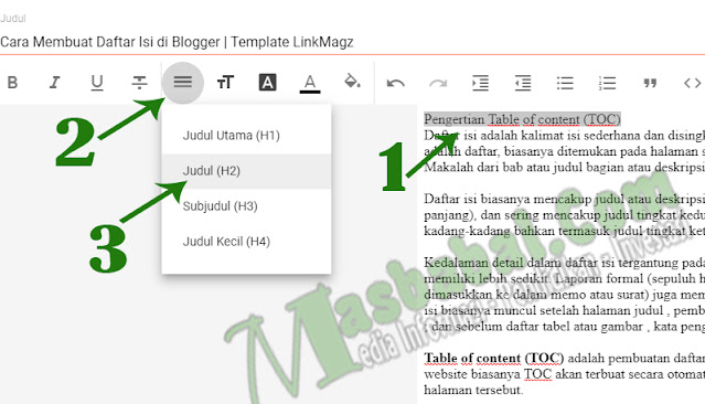 Kode Table of content (TOC) di pada template LinkMagz