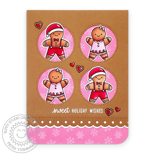 Sunny Studio Stamps: Christmas Cookies, Window Quad Circle Dies, Slimline Basic Border Dies & Holiday Cheer Paper Gingerbread Men Handmade Card by Mendi Yoshikawa