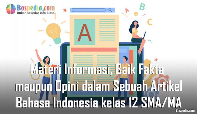 Materi Informasi, Baik Fakta maupun Opini dalam Sebuah Artikel Mapel Bahasa Indonesia kelas 12 SMA/MA
