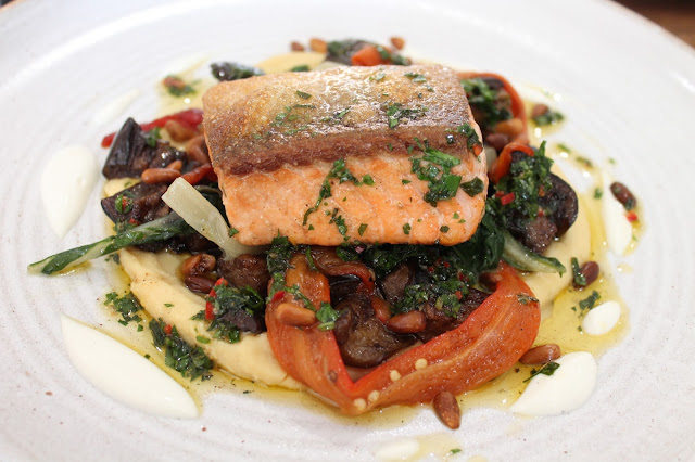 salmon from the lunchtime menu at The Hardwick Hotel in Abergavenny chef Stephen Terry