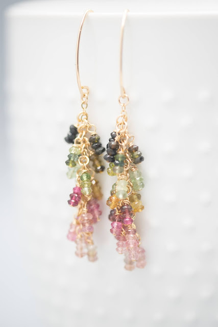 A rainbow cascade for the ears with lovely waterfall tourmaline earrings. Image credit Raw Amor.