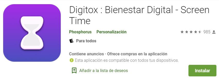 تحميل تطبيق Digitox في Play Store