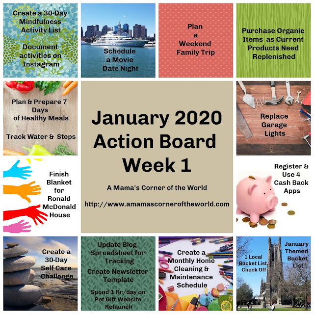 Example of a Weekly Action Board from Vision Board Goals