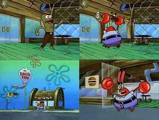 Polosan meme spongebob dan patrick 127 - tuan krab melempar si tom ikan karena berisik