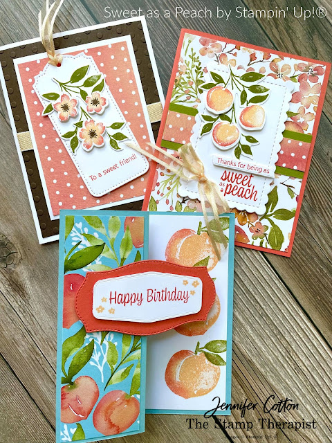 Stampin' Up!'s Sweet as a Peach Bundle.  Fun Fold.  #StampinUp #StampTherapist