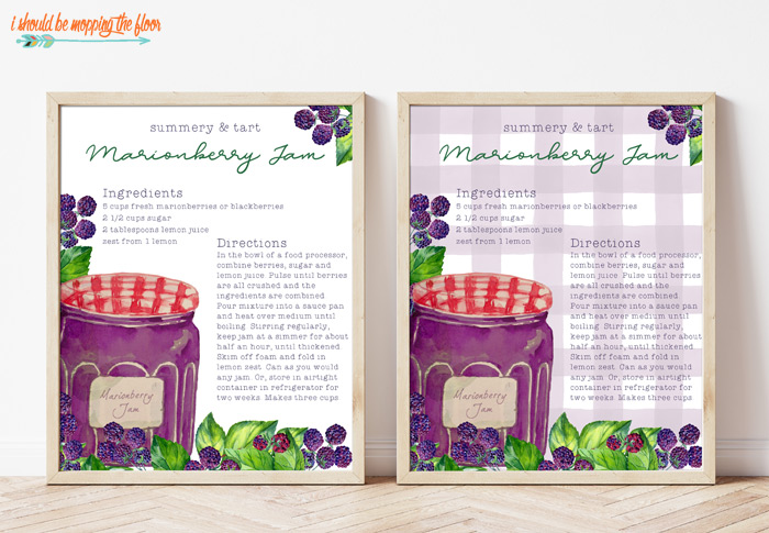 Decorative Marionberry Jam Recipe Printable