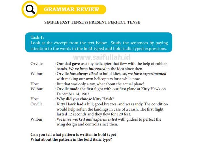 Chapter 7 Task 1 Halaman 102 Grammar Review Kelas 10