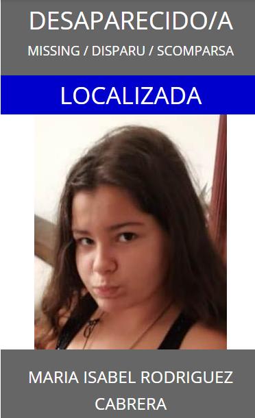 Es localizada en buen estado María Isabel Rodríguez Cabrera, menor que estaba como desaparecida en Gran Canaria