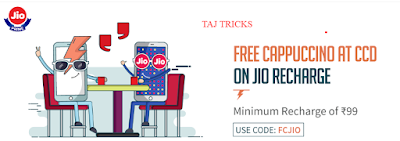 FreeCharge Jio Prime Offer - Now Activate Jio Prime MemberShip and Get Free CCD Cappuccino on Rs. 99 Jio Recharge