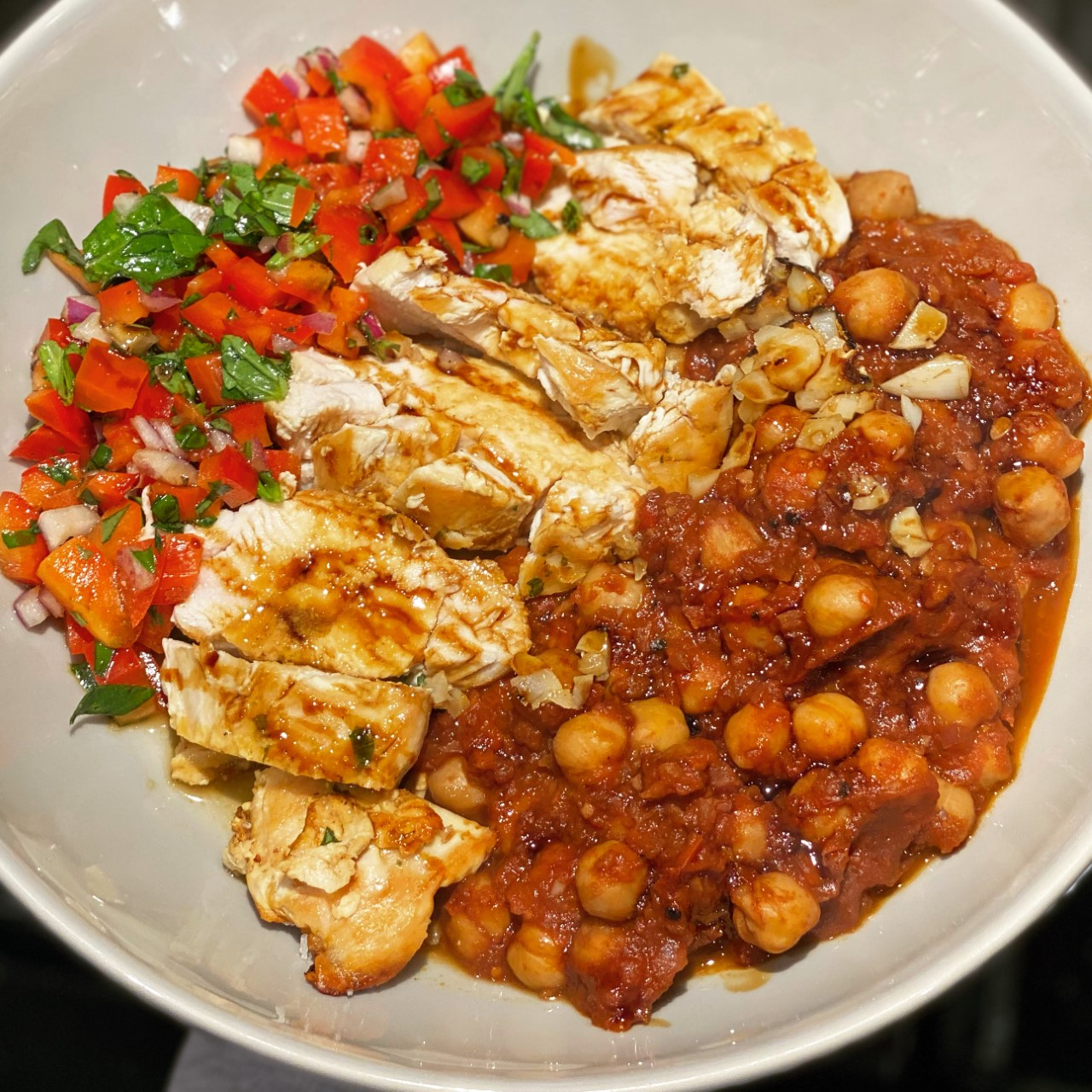 Double Pepper Chicken with Chickpea Stew and Salsa