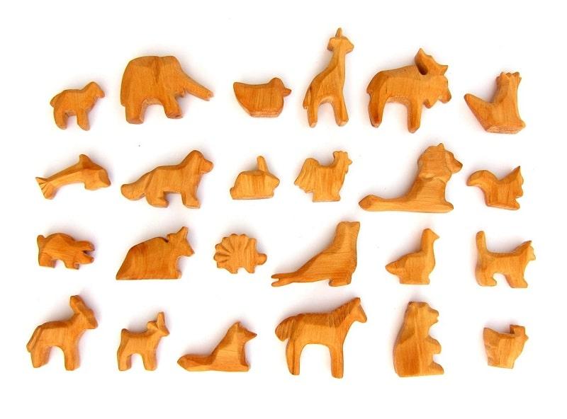 wooden animal advent calendar set
