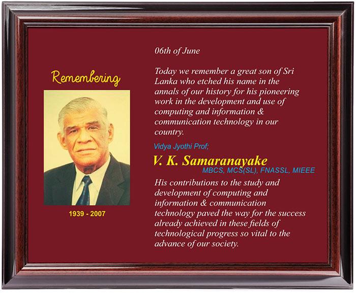 Remembering Vidya Jyothi Prof V. K. Samaranayake