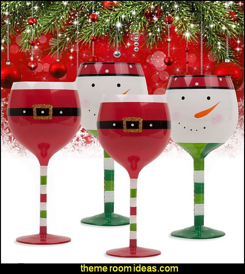 Christmas Wine Glasses   Santa Belt and Snowman Drinking Goblets Holiday Wine glass