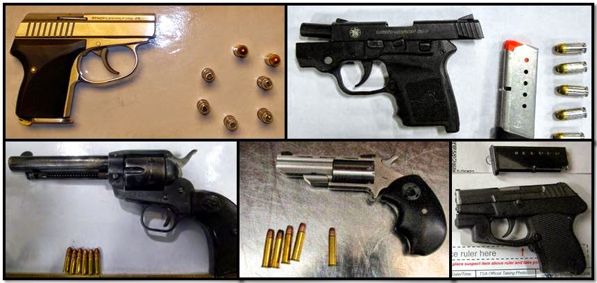 Clockwise from top left, firearms discovered at: SAT, MSY, PIT, SHV & DAL