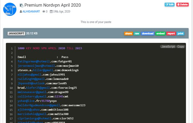 KEY NORD VPN APRIL 2020 TILL 2023
