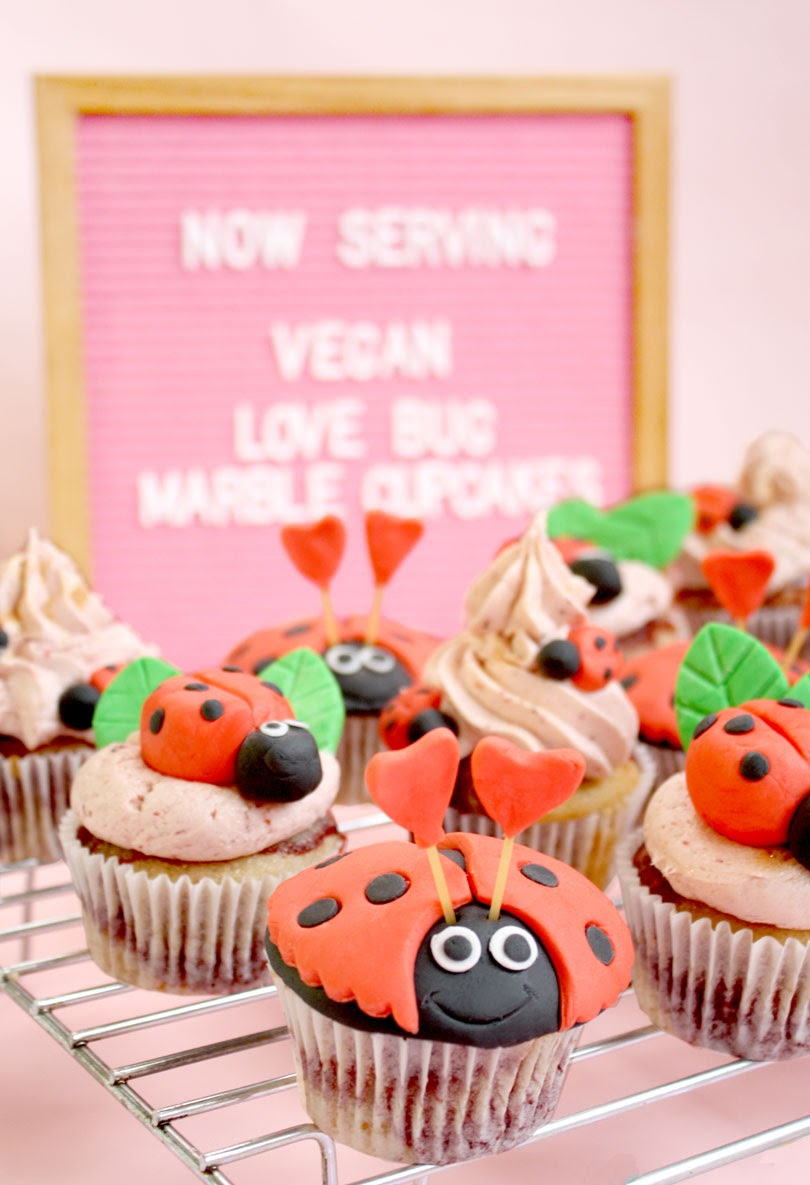 vegan love bug marble cupcakes