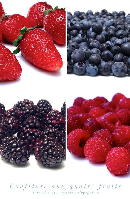 1 recette de confiture confiture aux quatre fruits fraise framboise m re bleuet ou myrtille. Black Bedroom Furniture Sets. Home Design Ideas