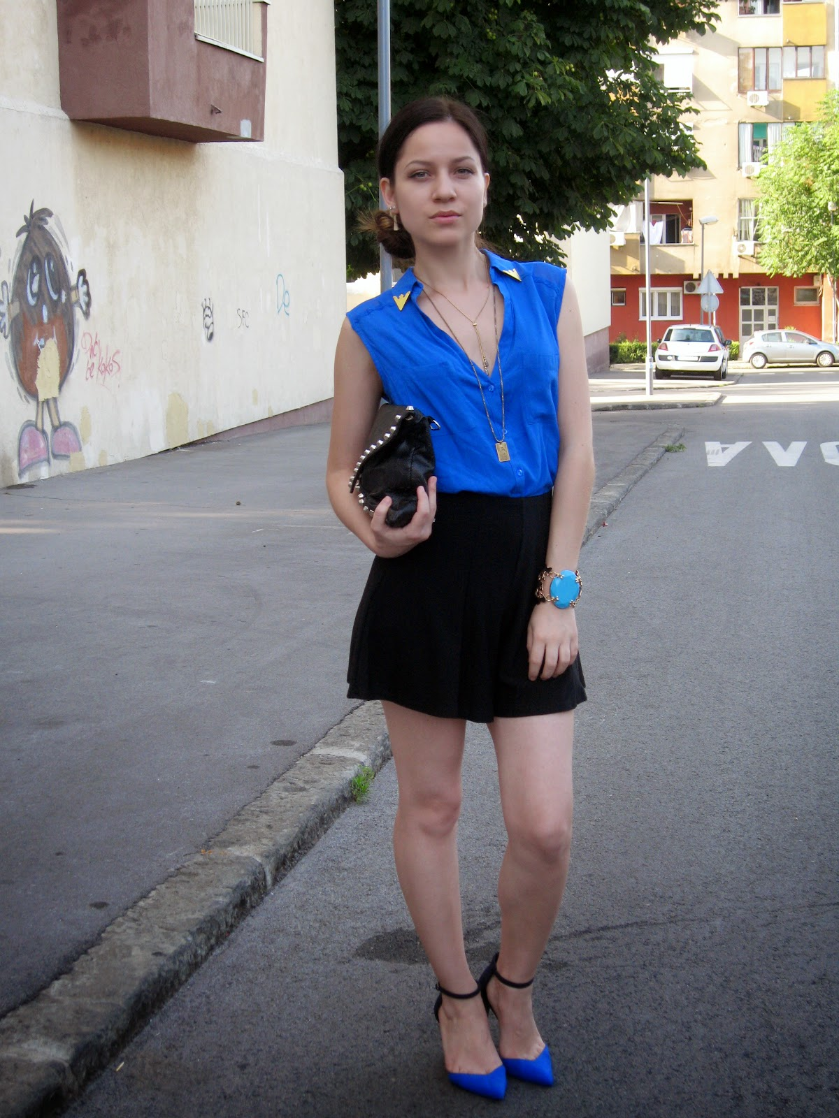 black flared high waisted shorts, cobalt blue blouse shirt, zara sandals, zara shoes 2013, black studded clutch, statement bracelet, side bun, layered gold necklaces