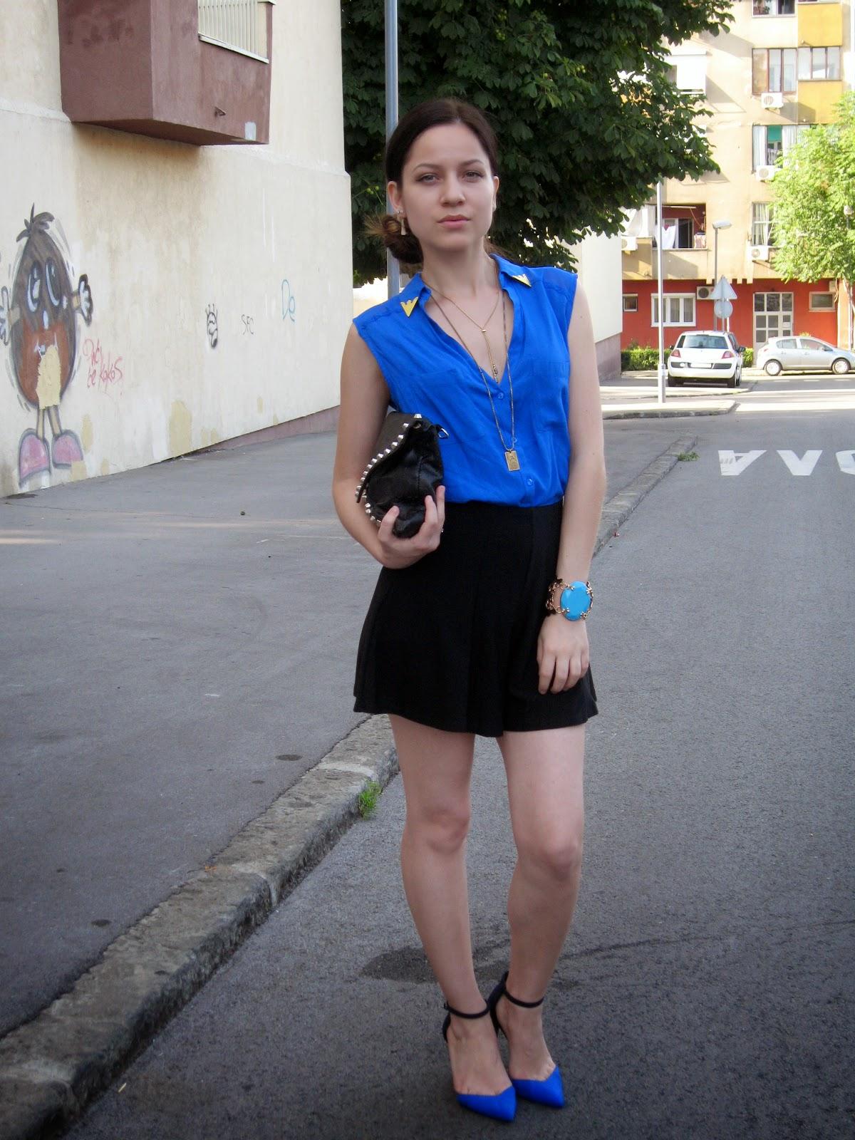 black flared high waisted shorts, cobalt blue blouse shirt, zara sandals, zara shoes 2013, black studded clutch, statement bracelet, side bun, layered gold necklaces