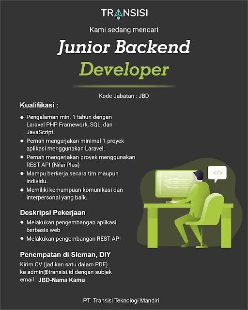 Lowongan Kerja Junior Backend Developer
