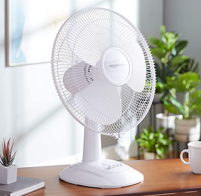 AmazonBasics High Speed Table Fan for Cool and Refreshed Air with Automatic Oscillation