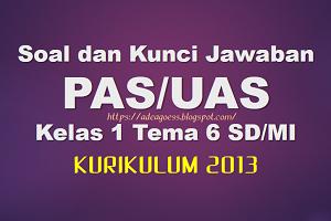 Download Soal dan Kunci Jawaban PAS/UAS Kelas 1 Tema 6 SD/MI Kurikulum 2013